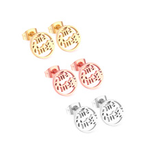 LUXUKISSKIDS 3Pairs/Lot 316L Stainless Steel Cute Letter MAMA Rose Gold Small Stud Earrings