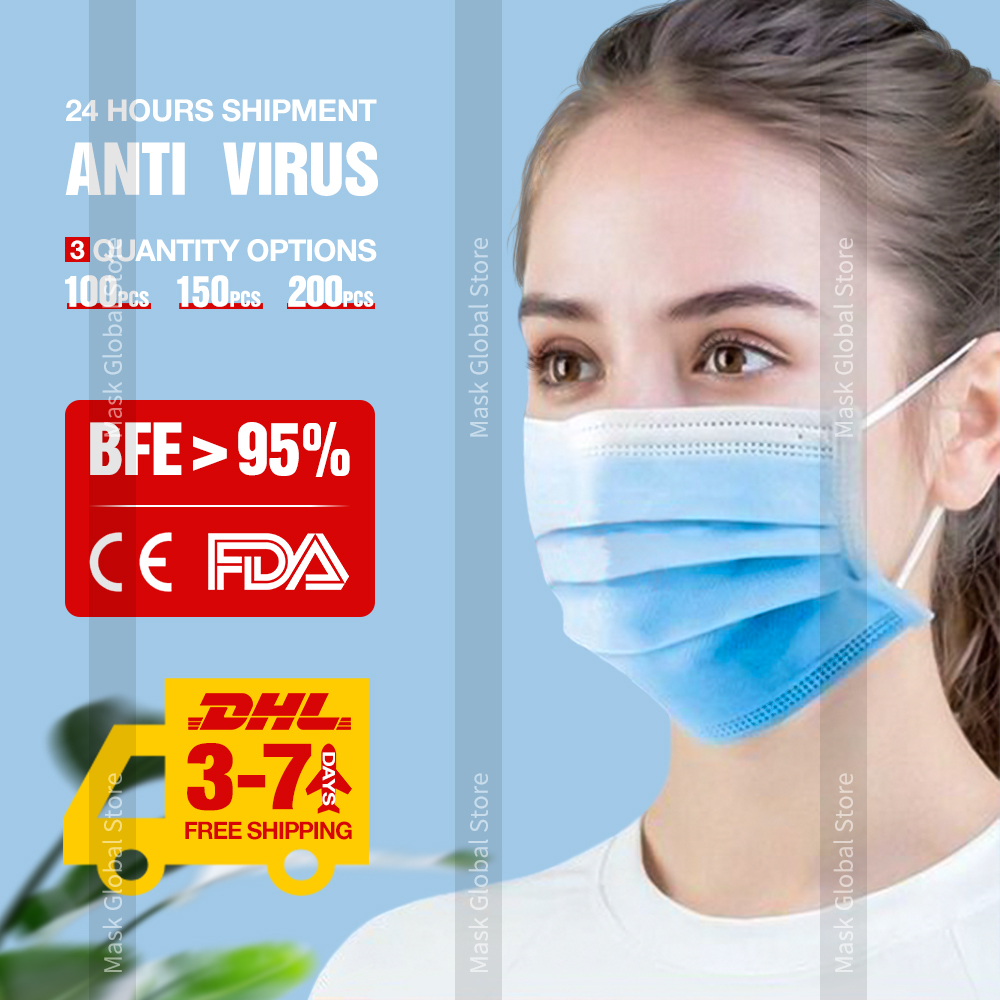 DHL Disposable Face Masks 3 Ply Meltblown Protective Face Mask Blue Nonwoven Mouth Mask Anti Virus Disposable Mask 3 Layers