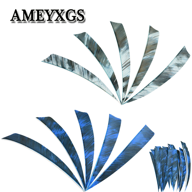 50/100pcs 5inch Archery Arrow Feathers Right Wings Turkey Feather Shield Shape DIY Tools Fit For Hunting Shooting Accessories-in Bow & Arrow from Sports & Entertainment