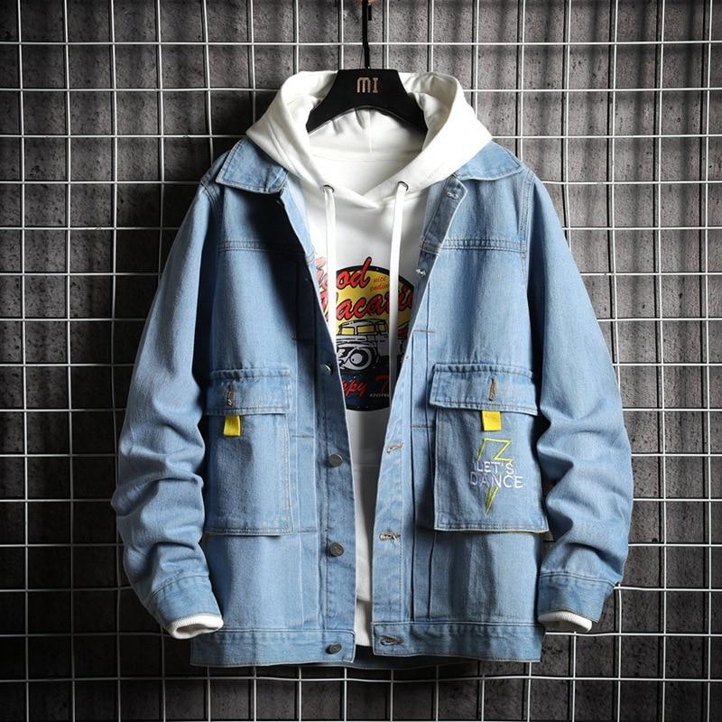 2020 Newly Fashion Men Jackets Retro Blue Big Pockets Printed Designer Denim Jacket Men Streetwear Hip Hop Jackets Hombre