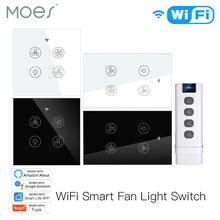 Nowy WiFi RF inteligentny wentylator sufitowy z lampą 2/3 Way Control inteligentne życie/Tuya APP RF zdalna kontrola prędkości Alexa Google Home kompatybilny