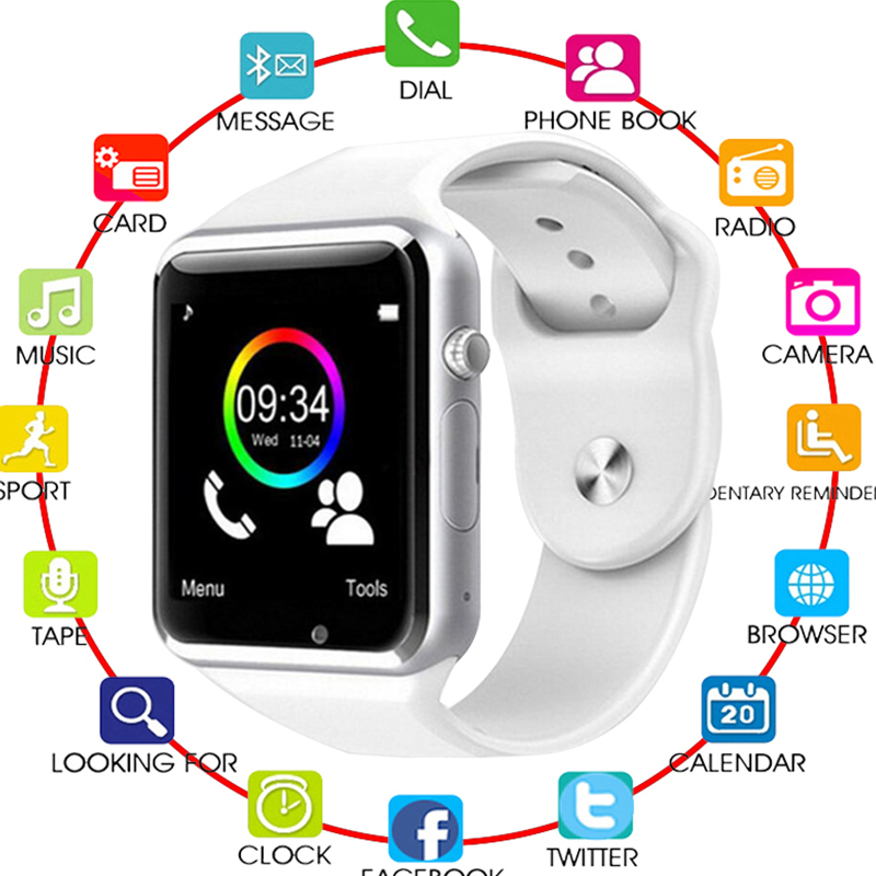 <font><b>Bluetooth</b></font> <font><b>A1</b></font> <font><b>Smart</b></font> <font><b>Watch</b></font> <font><b>Sport</b></font> Wristwatch Support 2G SIM TF Camera Smartwatch For Android Phone PK GT08 DZ09 Q18 Y1 dropshipping image