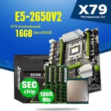 Atermiter X79T X79 Turbo материнская плата LGA2011 блок питания ATX комбо E5 2650 V2 Процессор 4 шт х 4GB = 16 Гб DDR3 Оперативная память 1866 МГц PC3 14900R M.2 SSD