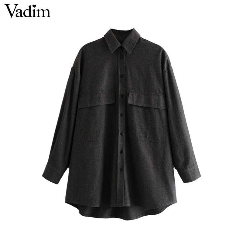 Vadim Female Shirt Buttons-Pockets Solid Blouse Oversized Irregular Long-Sleeve Chic title=