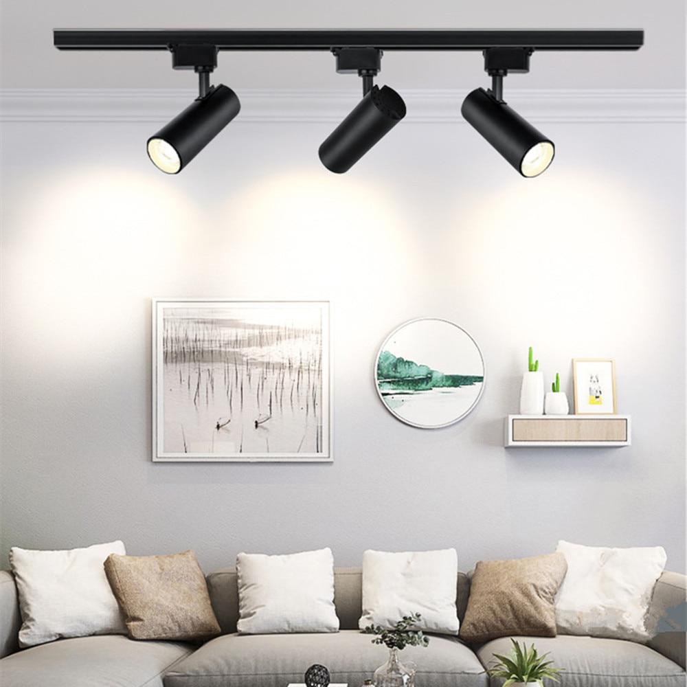 Led Track Light 12W 20W 30W 40W Track Light Lamp Fixture Spot Ceiling Lamp Spotlight Rail Lighting 220V For Shop Kitchen Room