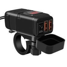 אטים לגשם Dustproof הכפול USB3.0 סופר מהיר טעינה + דיגיטלי מד מתח חכם כוח מטען כידון עבור GPS נייד