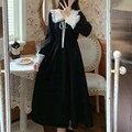 Женское кружевное платье с воротником «Питер Пэн», элегантное винтажное платье с длинным рукавом, со шнуровкой, в Корейском стиле, весна 2021