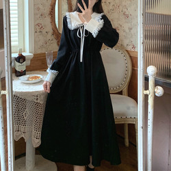 Vintage Dress Women Sweet Lace Peter Pan Collar French Elegant Long Sleeve Lace-Up Fairy One Piece Dress Korean 2021 Spring Chic