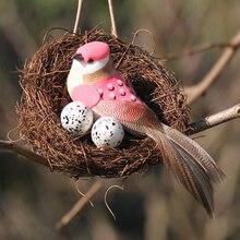 Vintage ventana de visualización de ratán artesanía gran ronda fiesta suministros casa Pascua simulación accesorios para jardín pájaro nido Set decoración de la Mesa