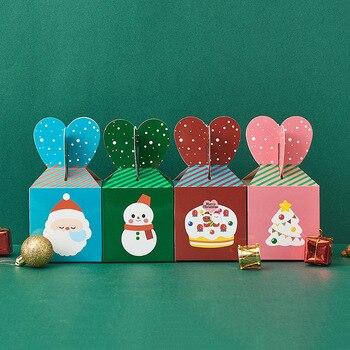 Christmas candy paper packaging flower gift box Cartoon birthday party decorations kids Xmas коробка картон новогодние подарки