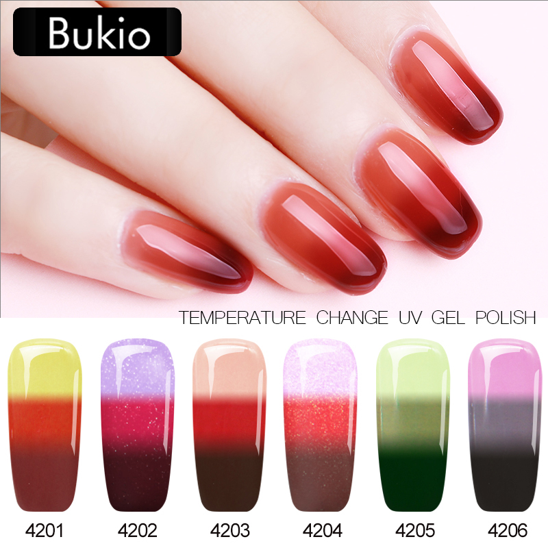 Bukio Newest Thermo Temperature Color Changing Gel Varnishes UV LED Semi Permanent Gel Polish Hybrid Luckly Mood Nail Art