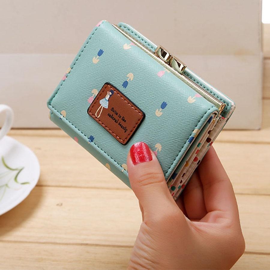 Кожаный женский кошелек, короткая Сумочка для монет, женский кошелек, Новинка Kawaii Girl, маленькие кошельки для мелочи, сумка для монет, 3 сложения, кошелек для монет - Цвет: Green