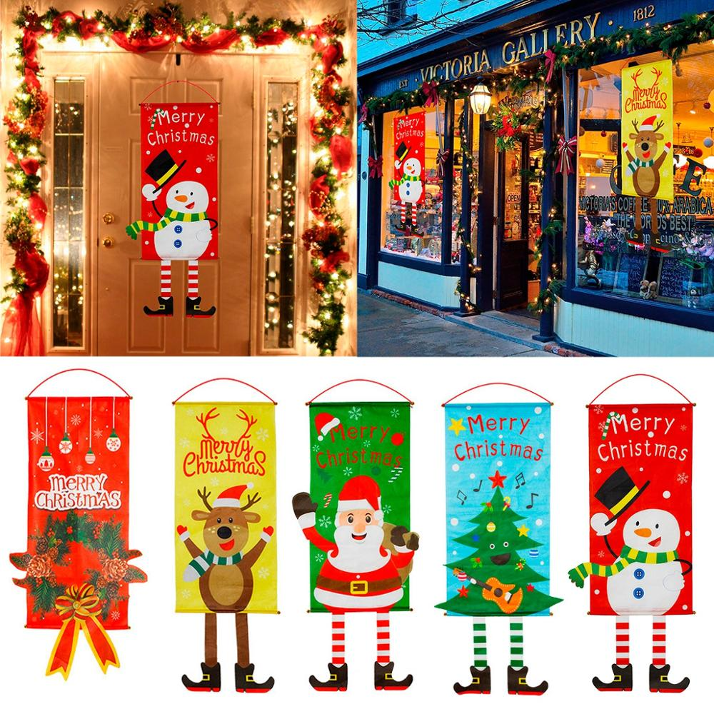 PATIMATE Christmas Cloth Hanging Flag Merry Decorations For Home Decoration 2019 Xmas Gifts New Year