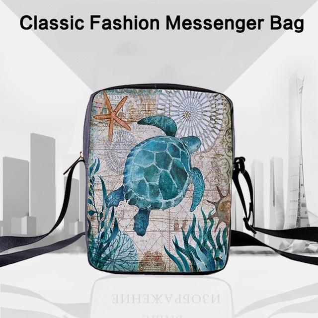 Bolsas carteiro femininas crowdale, mini bolsas casuais estampadas da vida marinha para crianças