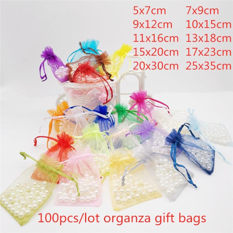 100 шт., 5x7, 7x9, 9x12, 10x15, 13x18 см, маленькая подарочная Сумка из органзы, подарочная упаковка для свадебной вечеринки, сумки для конфет, подарочные п...