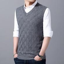 Модный брендовый жилет, свитера для мужчин, пуловер с v-образным вырезом, облегающие вязаные Джемперы, зимняя жаккардовая повседневная мужская одежда без рукавов