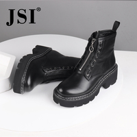 JSI Women Boots Round Toe Genuine Leather Zip Ankle Ladies Shoes Solid Winter Square Heel High Heels Basic Women Boots jc483