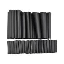 цена на 127pcs/lot Heat Shrink Tubing 7.28m 2:1 Black Tube Car Cable Sleeving Assortment Wrap Wire Kit with Polyolefin Assortment