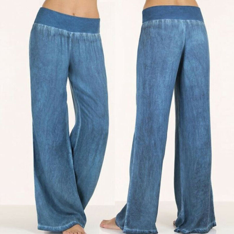 2019 New Women Elastic High Waist   Pants     Capris   Wide Leg   Pants   Loose Long   Pants   Solid Casual Denim Trousers Plus Size M-5XL