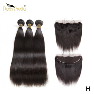 Ross Pretty Straight hair bundles with frontal Remy Human Hair lace closure with Hair Weave natural black hair