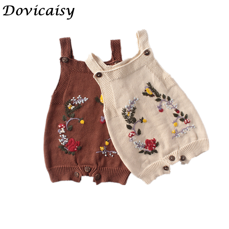 Baby Girl Floral Knit Romper  Ins Spring Style 2020 Baby Floral Rompers Newborn Sleeveless  Knitted Wool Jumpsuits