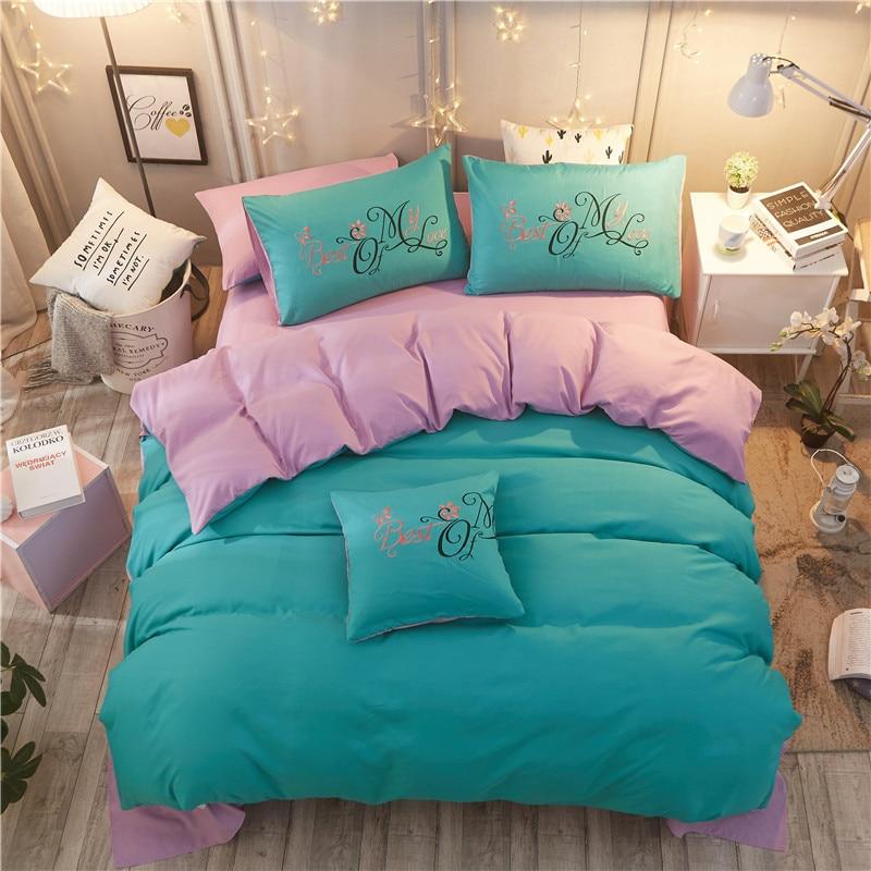 Одноцветный матовый вышитый комплект из четырех предметов, стираный хлопок, свадебная вышивка, простая 1,5/1,8 м кровать