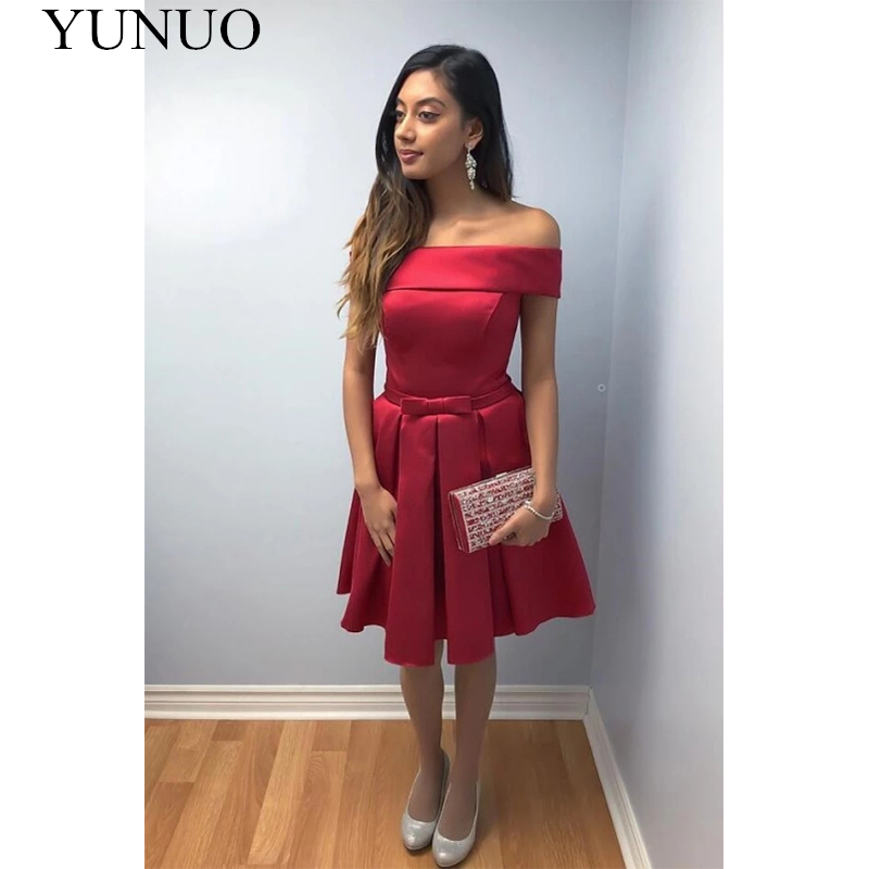 YuNuo Textured Off the shoulder Short Prom Dress with Bow Sash N65