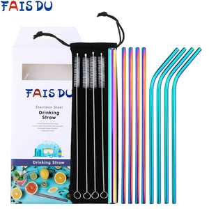 9pcs Reusable Stainless Steel Straws With Travel Case Cleaning Brush Metal Drinking Straws Party Bar Accessory