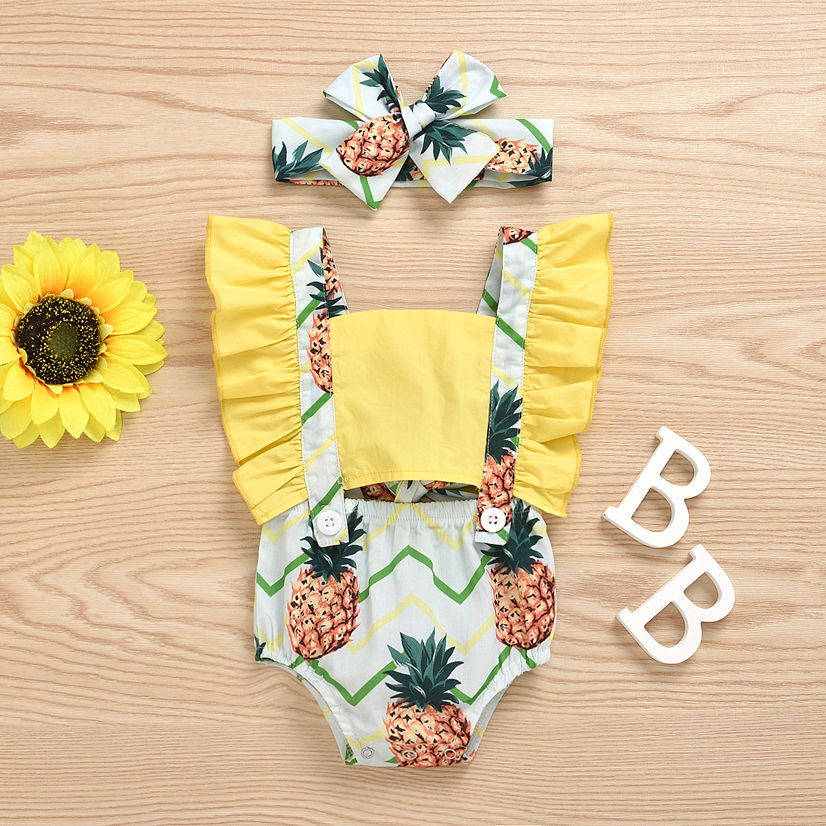 Pudcoco Newborn Baby Girl Clothes Pineapple  Print Sleeveless Ruffle Strap Romper Jumpsuit Headband 2Pcs Outfits Sunsuit Clothes