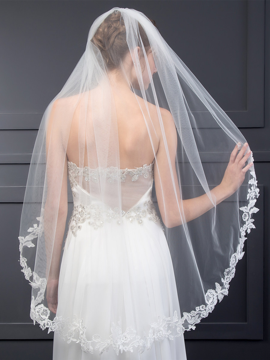 Tanpell Stunning Appliques Wedding Veil Ivory One-Layer Tulle Short Wedding Veil