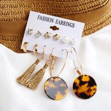 HOCOLE Fashion Acrylic Tassel Dangle Earrings Set For Women Bohemian Gold Metal Resin Long Earring Wedding Party Jewelry 2019