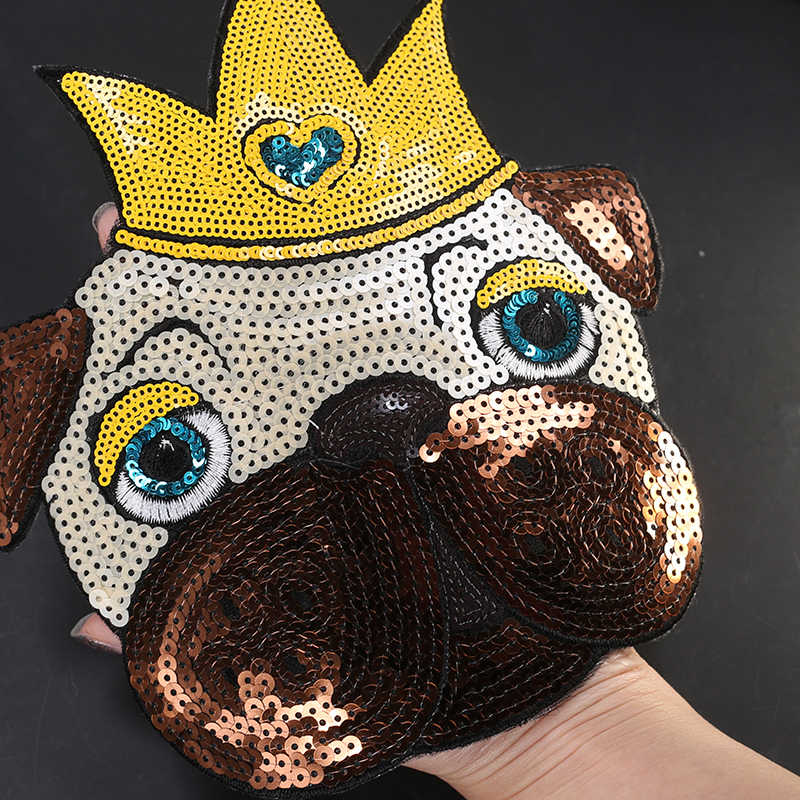Besar Wow Besar Besi Di Payet Patch Bordiran Bordir Anjing Patch untuk Pakaian Anak-anak Lencana Kain Stiker Jahit JOD