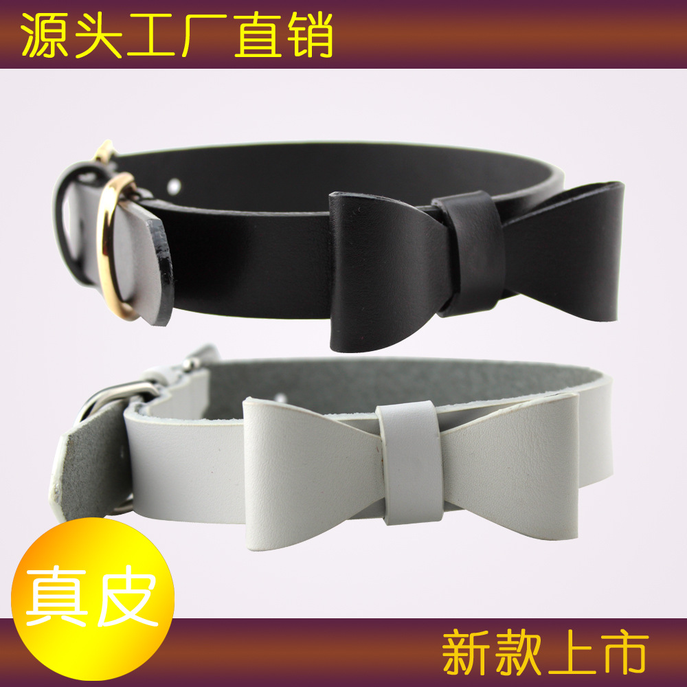 New Style Natural Leather Bow Pet Collar Dog Neck Ring Traction Pet Supplies