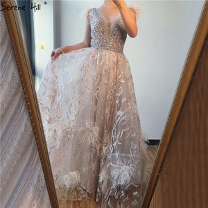 Image 3 - Dubai Champagne V Neck Sexy Evening Dresses 2020 Feathers Crystal Sleeveless Evening Gowns 2020 Serene Hill LA70260