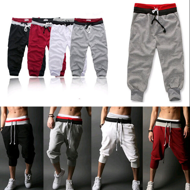 Dance Gym Men's Hot Casual Shorts Pants Running Training New Sport Trousers Jogging Capri Pant Men's Pants Solid Frenulum