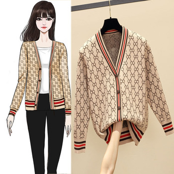 Women Cardigan Jacket V-neck Long Sleeve Sweater 5 Color Outer Fur Clothes 2019 Spring Splicing Single Breasted Knit Cardigan