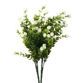 New 2 Bunches of 6-Branch Artificial Eucalyptus Plant Flowers Home Decor White
