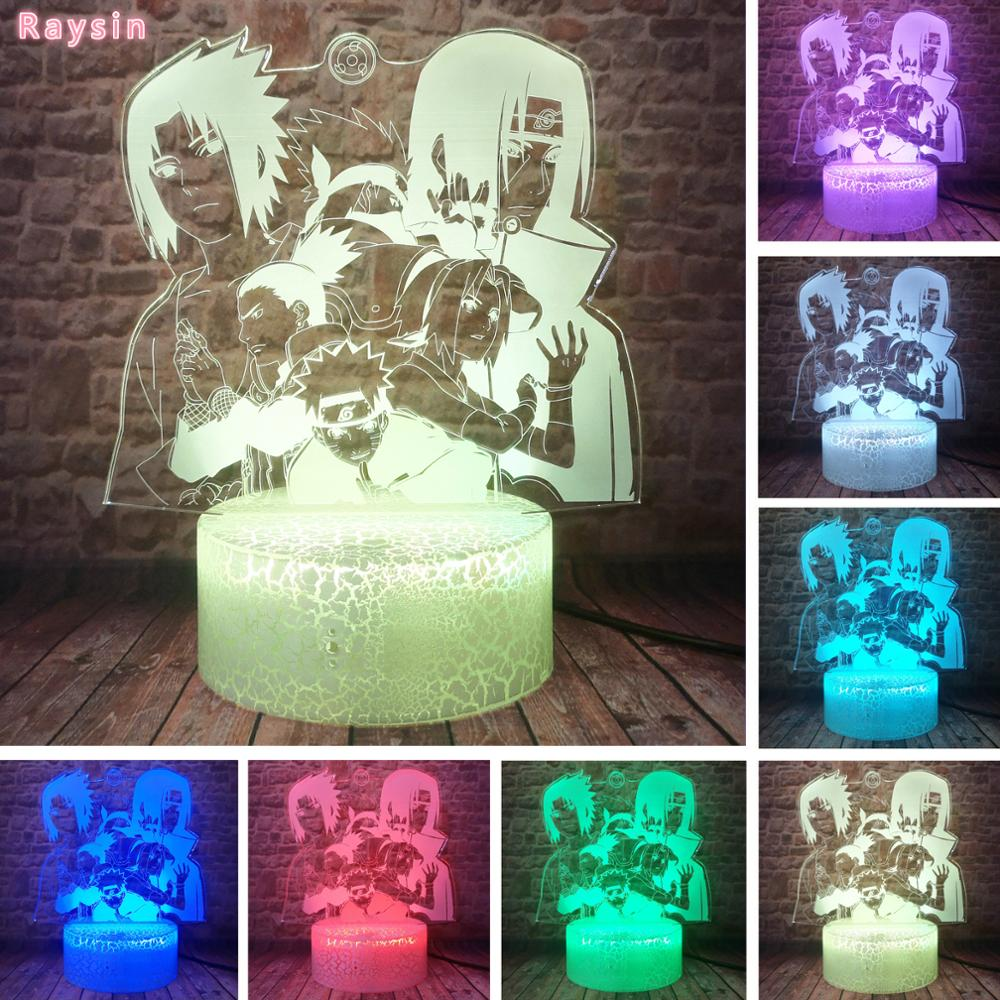 Cool Naruto Comics Uchiha Sasuke Itachi Kakashi Haruno Sakura Nara Ninja Anime Shippuden 7 Colors 3D Table Lamp Child Xmas Gifts