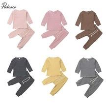 Детская одежда весна-осень 2 предмета мягкая хлопковая для новорожденных младенцев Одежда для маленьких мальчиков и девочек Полосатые рубашки топы, штаны Комплекты одежды