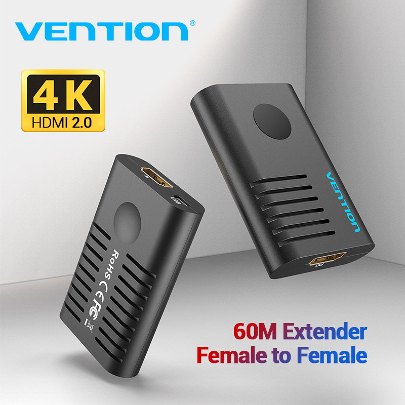 Vention HDMI Extender HDMI 2.0 Female to Female Repeater up to 10m 60m Signal Booster Active 4K@60Hz HDMI to HDMI Connector|HDMI Cables|   - AliExpress