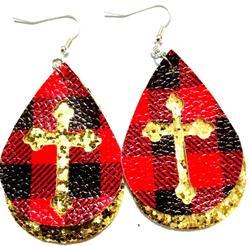 Vintage Water Drop Pu Leather Earrings multi Colors Flower Print Design Leather Dangle Earring Teardrop Ear Jewelry For Women