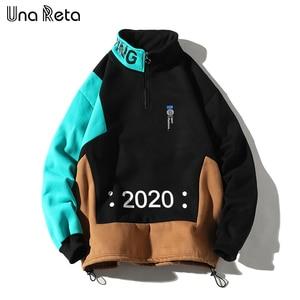 Image 3 - Una Reta erkekler kazak yeni Hip Hop renk blok Patchwork polar tişörtü erkek Harajuku kazak tops Casual Streetwear