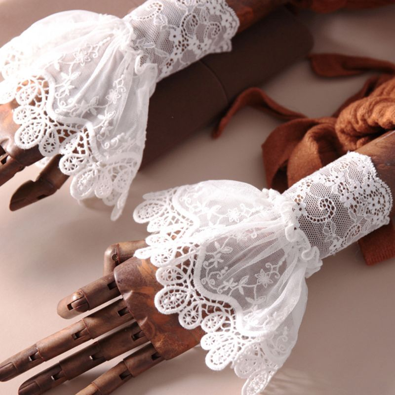 2020 New Female Sweater Fake Sleeves Hollow Crochet Lace Ruffles Horn Cuffs Wrist Warmers