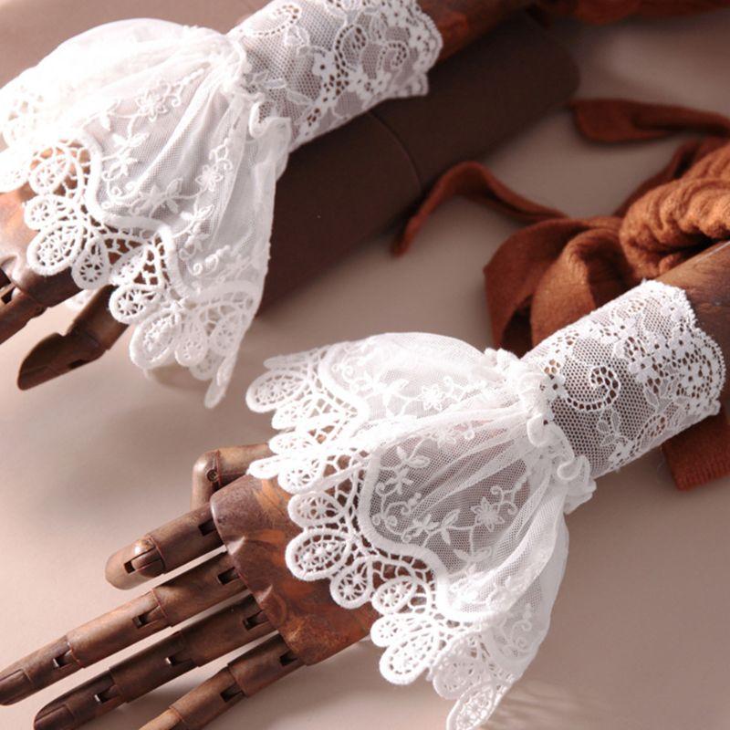 2020 New Female Sweater Fake Sleeves Hollow Crochet Lace Ruffles Horn Cuffs Wrist Warmers