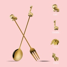304-Stainless-Steel Spoon Dining-Tableware Coffee-Stirring Animal Kitchen Creative Christmas-Gift
