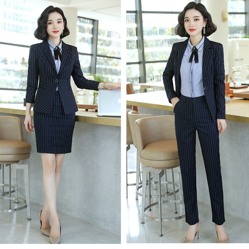 2019 Autumn And Winter New Women's Suit High Quality Casual Slim Large Size Striped Blazer Women Trousers Suit Office Two Suits