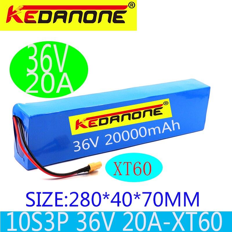 Kedanone 2020 36v 10s3p 8ah 500w alta potência capacidade 42v 18650 bateria de lítio 8000mah bicicleta elétrica scooter bms