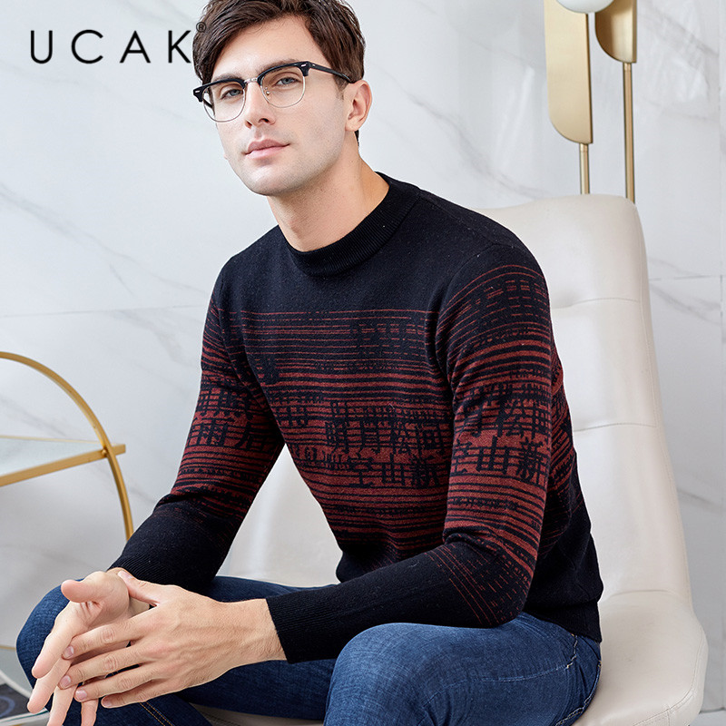 UCAK Brand Sweaters Men New Arrival Pure Merino Wool Chinese Style Fashion Casual Streetwear Warm Winter Sweater Pullover U3146