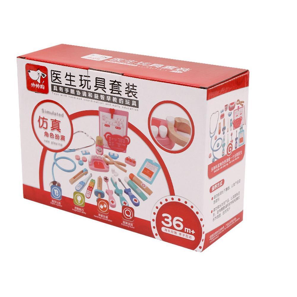 20Pcs/Set Chidlren Pretend Doctor Dentist Wooden Medical Playset Education Toy