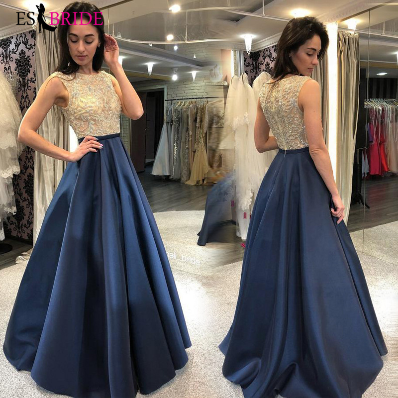 Royal Blue Special Occasion Dresses Lace Appliques Vestido De Noche O-neck Evening Dress Party Prom Dress Evening Gowns ES2625